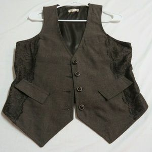 Sz M Brown Lace Trim Old Navy Womens #B43 Vest
